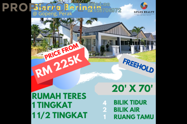 Terrace For Sale in Taman Gopeng, Gopeng Freehold Semi Furnished 4R/2B 225k